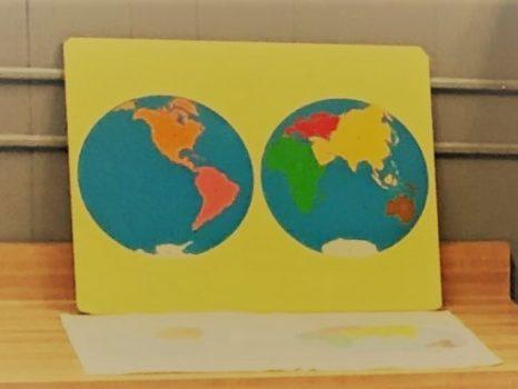 Painted Globe hemispheres
